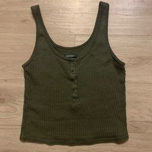 Cropped Olive/Military Green Ribbed Tank Top